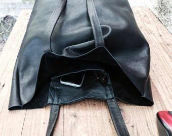 Sale!!! Slouchy leather bag, supple black leather tote, Large Black Leather Tote Bag, Leather hobo bag