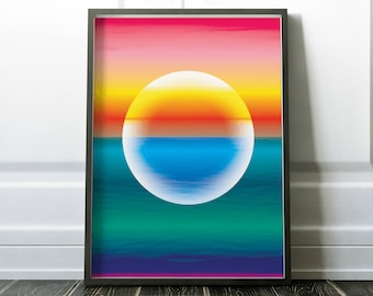 Abstract 04 - Sunset over the Sea Art Print