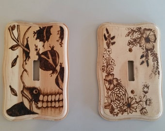 Wood Burned Light Switch Cover