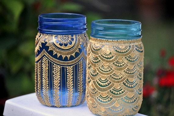 SET OF 2 Bohemian Mason Jars Lanterns Decorated With Henna