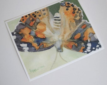 Butterfly Print Painted Lady Watercolor Artwork Home Office Wall Art Decor Painting Picture Gardener 1st Paper Anniversary Gift  for Her