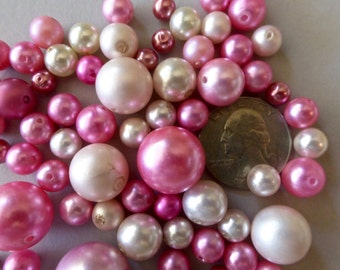 Mix of Vintage Pink and White Round Glass Beads in Assorted Sizes  (75+)
