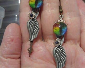 Rainbow Dragon Eye & Silver Wing; Steampunk Inspired Earrings; SP636