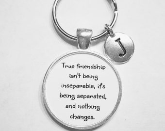 Initial Keychain, Best Friend Gift, Best Friend Keychain, True Friendship Long Distance Choose Initial