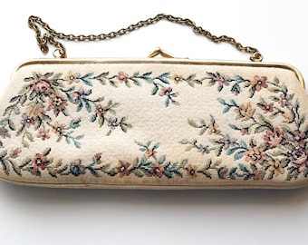 Vintage Tapestry Purse, Needlepoint Purse, Tapestry Handbag, Vintage Purse, Floral Tapestry Purse, 1940s Floral Evening Bag, Clutch Purse