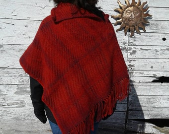 Bright red closed poncho