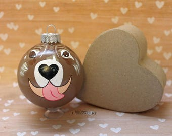 Brindle Pit Bull Christmas Ornament READY TO SHIP Glass Bauble Dog Hand Painted Pitbull Art Pet Loss Gift Dog Mom Pet Memorial Pet Portrait