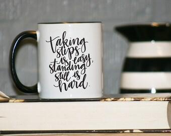 LIMITED EDITION RELEASE Taking Steps is Easy Regina Spektor Song Lyrics Orange Black Mug Coffee Cup