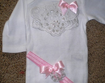 Newborn Baby Girl Onesie, Baby Coming Home Outfit, Photo Prop, Baby Shower Gift, Newborn
