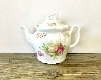 Floral teapot for one / Single Serve teapot for one / stunning ornate Victorian floral teapot