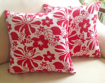 Floral Canvas Tropical summer design, Cotton Pillow Cover, Porch pillow,  Decorative Pillow, summer decoration, 18X18, fast shipping