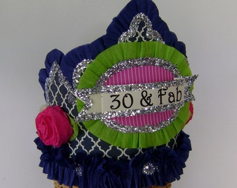 30th Birthday Party Crown, 30th Birthday Party Hat, customize