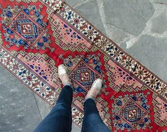 """Vintage Anatolian Oushak Handwoven Runner Wool Low Pile Oushak 11'10"""" x 2'10"""" Rug / Runner - FREE DOMESTIC SHIPPI"""