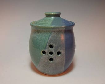 Garlic Jar Garlic Storage Pot Green and Purple