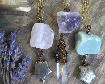 Chunky Raw Stone Necklace - Brass Chain - Stone Jewelry - Boho Festival Free Spirit Good Vibes Layering - Star Moon Celestial - Hippie Witch