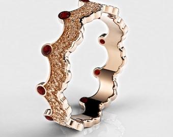 Ruby Rose Gold Ring, Ruby Crown Ring, Rose Gold Ring for Woman, Women's Gold Ring, Women's Ruby Ring, Princess Crown Ring, Red Crown Ring