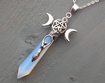 Triple Moon Pentagram Goddess Charmed Long Opalite Point Pendant