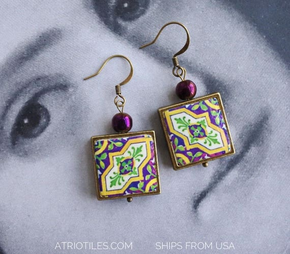 Earrings Green Purple Antique Azulejo Tile Framed Earrings OVAR  Portugal -  (see photos)  Gift Boxed - reversible Ships from USA 953