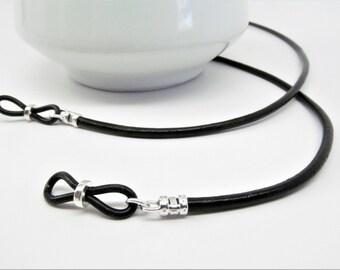 Black Leather Glasses Holder; black glasses chain; leather eyeglass cord; reading glasses holder; eyewearformen; eyeglass chain; kalxdesigns