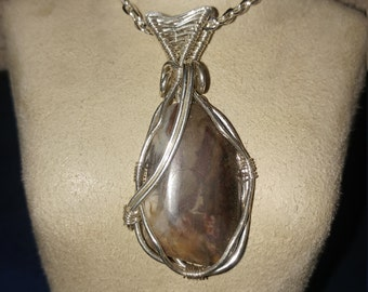 Petrified wood necklace wood slice pendant in sterling sterling silver petrified wood pendant aloadofball Images