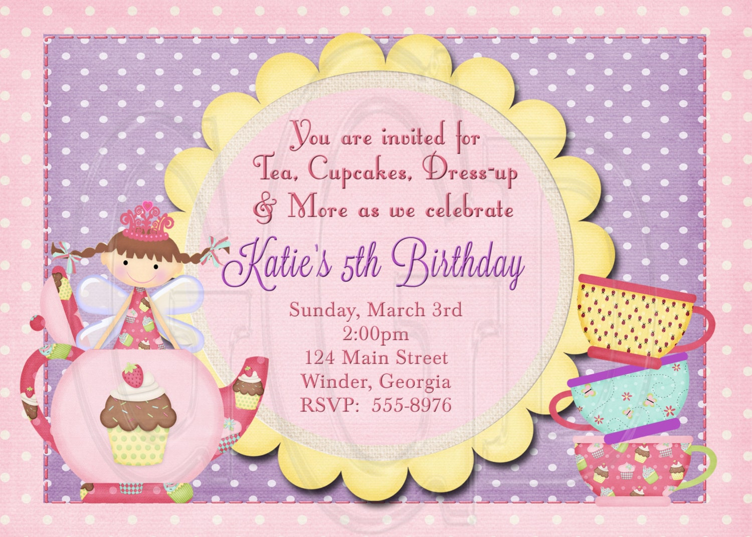 Fairy Tea Party Invitation Birthday Fairy Dress-up Party