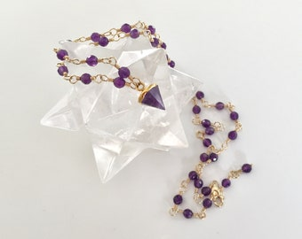Wirewrapped Amethyst and Gold filled Necklace with Pointed Spike Pendant