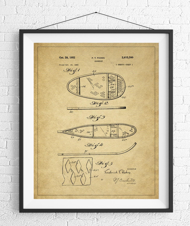 Snowshoe Patent Print, Snowshoe Decor, Winter Art, Winter Print ...