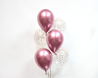 Chrome Pink and Confetti Print Balloons - Pink and Confetti Balloons - Wedding - Bridal - Bachelorette