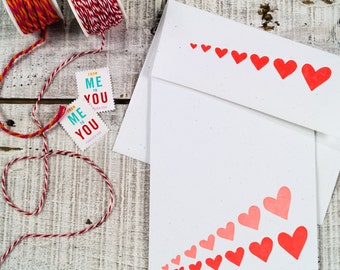 Expanding Hearts Letterpress Card