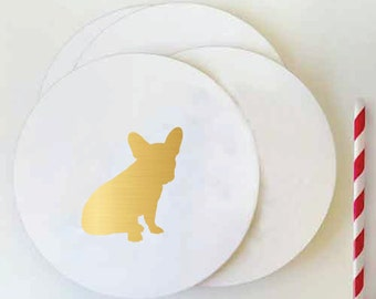 Foil Coasters - Dog Silhouette Coasters - Set of 50 - Gold Foil Coasters - Gold - All Breeds - Hostess Gift - Wedding
