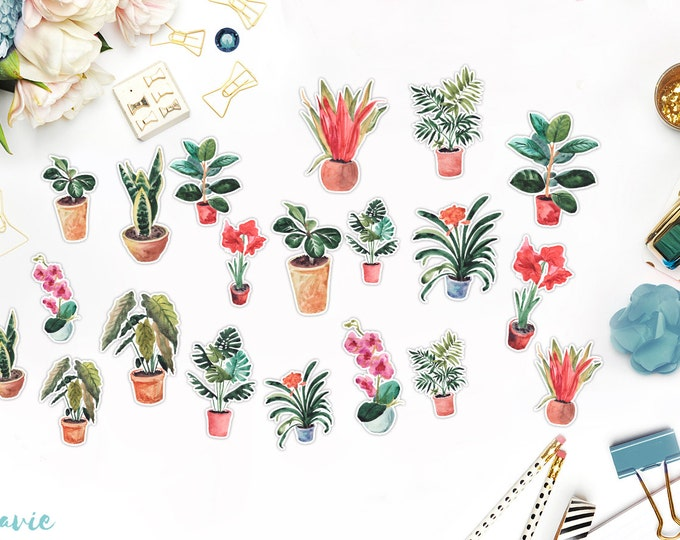 Plants stickers, 20 pcs