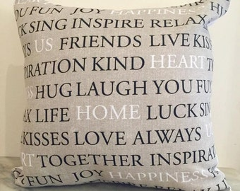 Family Print Taupe Cushion Cover