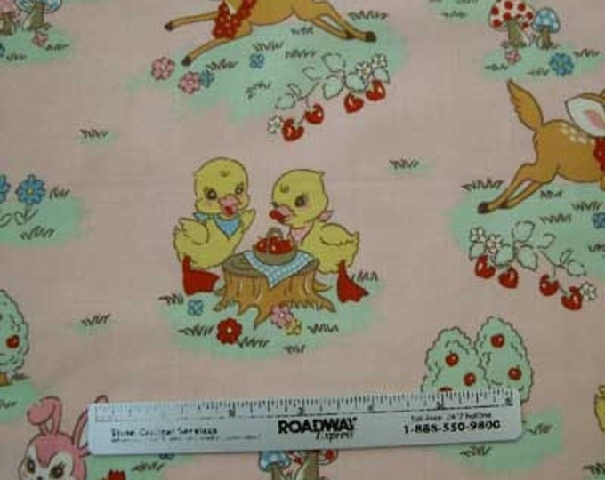 "Japanese Kokka BAMBI Chicks BUNNY Pink Quilt Fabric - RARE & Out of Print - Fq 18 x 21 or 22"" x 44"" Remnant"