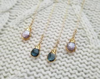Blue Topaz or Pink Tourmaline Drop Threader Earrings