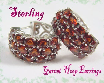 6 Ct Garnet Cluster Hoop Earrings - Sterling Silver - Spiral Filigree Pave Huggie Red - Gift Box - Bohemian - Great Gift - FREE SHIPPING