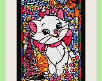 Marie stained glass - cross stitch pattern - PDF pattern - instant download!