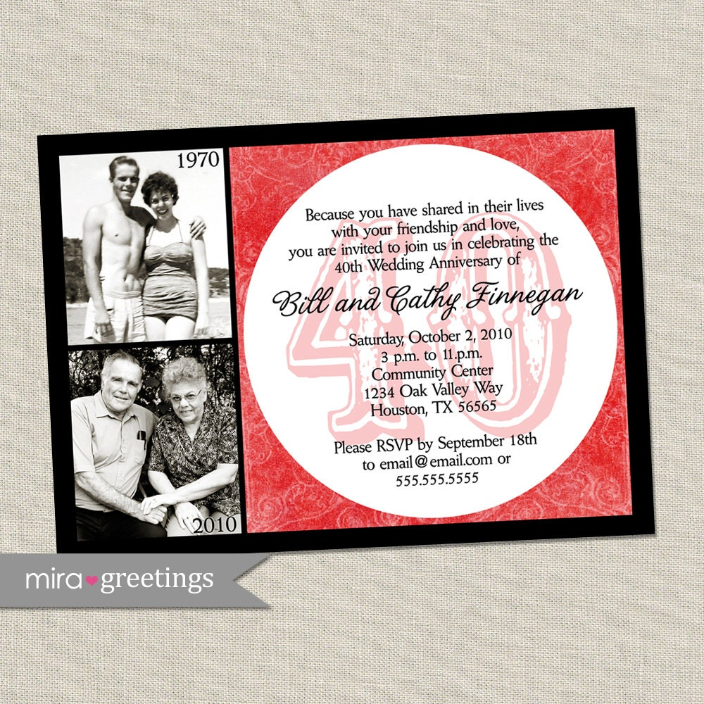 40th anniversary invitation ruby red wedding anniversary zoom stopboris Gallery
