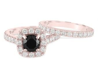 Rose Gold Black Diamond Engagement Ring Set, 2.65 Carat Wedding Ring Sets, Unique Halo Handmade Certified
