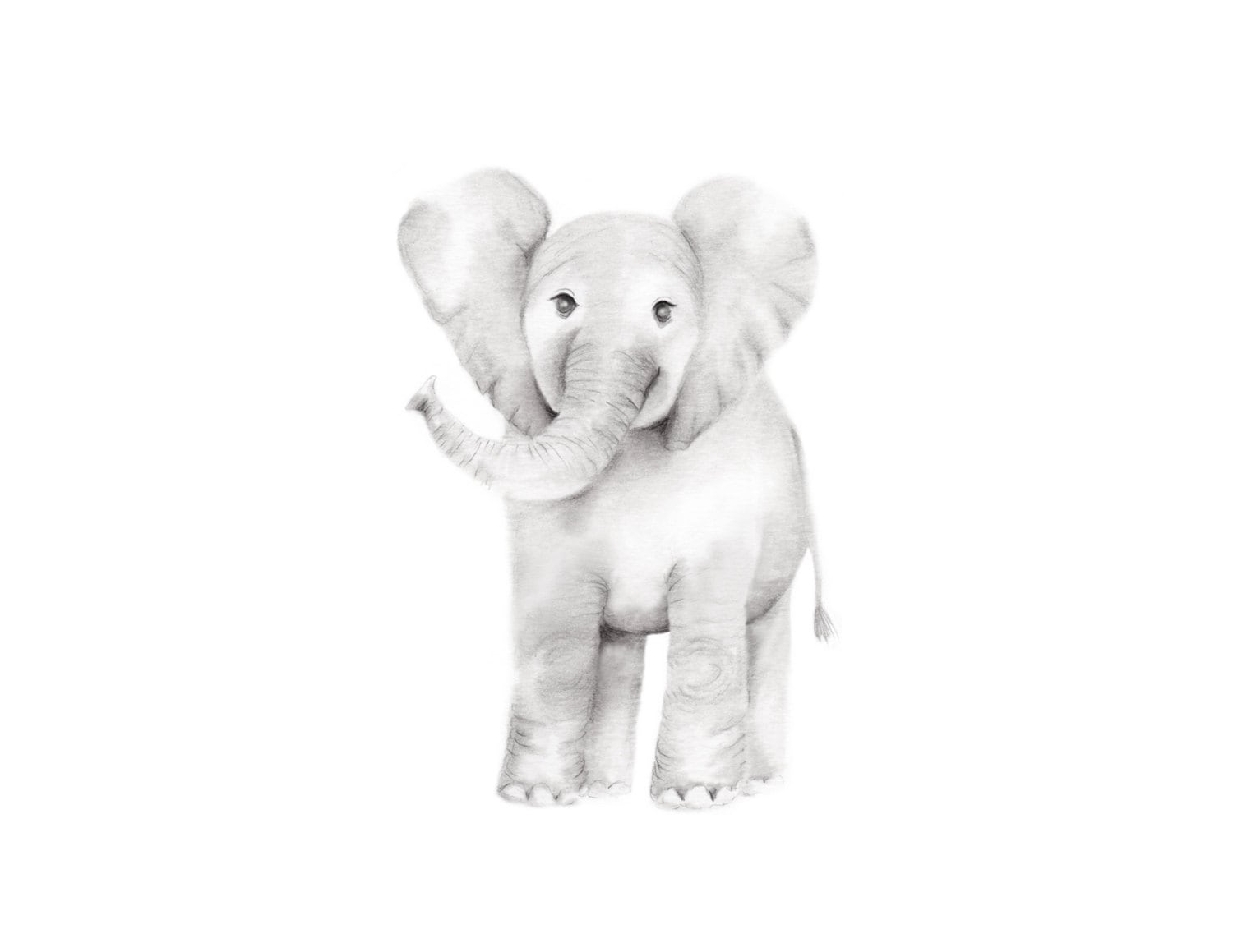 Elephant Nursery Art Pencil Drawing Grey Nursery Decor Baby