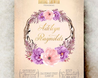 Watercolor bridal shower Invitation printable - purple bridal shower invitation, floral bridal shower invitation, bridal shower invites