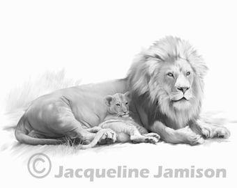 Original Art, ACEO, Lion and Cub, Daddy's Girl
