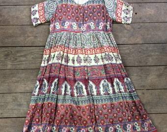 Vintage Indian Cotton Floral Paisley Button Front Dress / Block Print / Boho