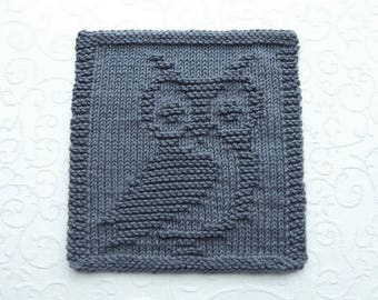 OWL Knit Dishcloth or Wash Cloth, Owl Lover Gift, Dark Gray, 100% Cotton, Kitchen Owl Gift, Hand Knitted Woodland Animal, Hostess Gift