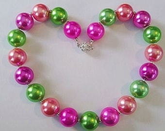 Chunky Bead Pearly Necklaces (purple/green/coral)