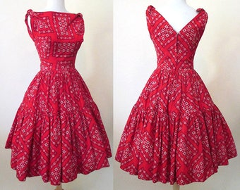 Adorable 1950's Designer Red Bandana Sundress vintage summer dress rockabilly Western pinup Girl Swing Dance Size Small