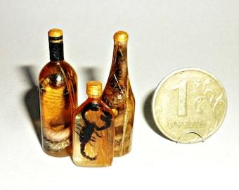 Dollhouse miniature 1:12 OOAK Vodka with snake, cobra vodka.