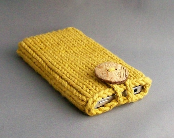 Phone Case Sleeve, Gadget Cozy - Hand Knit Dijon Mustard with Natural Coconut Button  Wonderful Gift
