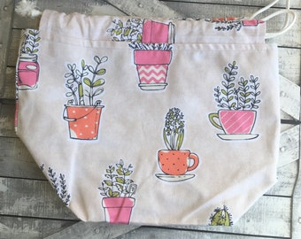 Potted Plant Knitting Project Bag - Toad Hollow bag, Crochet Project bag, drawstring bag, perfect gift for him or her,gift for knitter