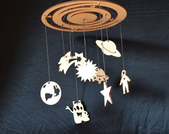Space Baby Mobile, wood Hanging Mobile, Astronaut galaxy, Rocket Moon, Saturn Comet Stars, Nursery mobile, Baby crib mobile,