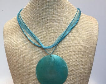Blue tinted organza cord necklace jewelry